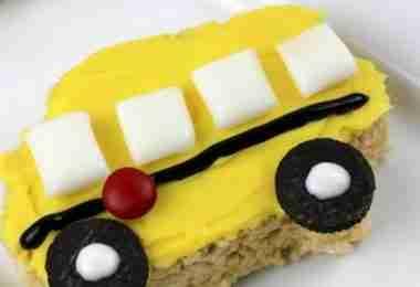 School Bus Rice Krispie Treats from Premeditated Leftovers