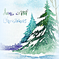 Watercolor Trees Free Christmas Countdown Printable Art