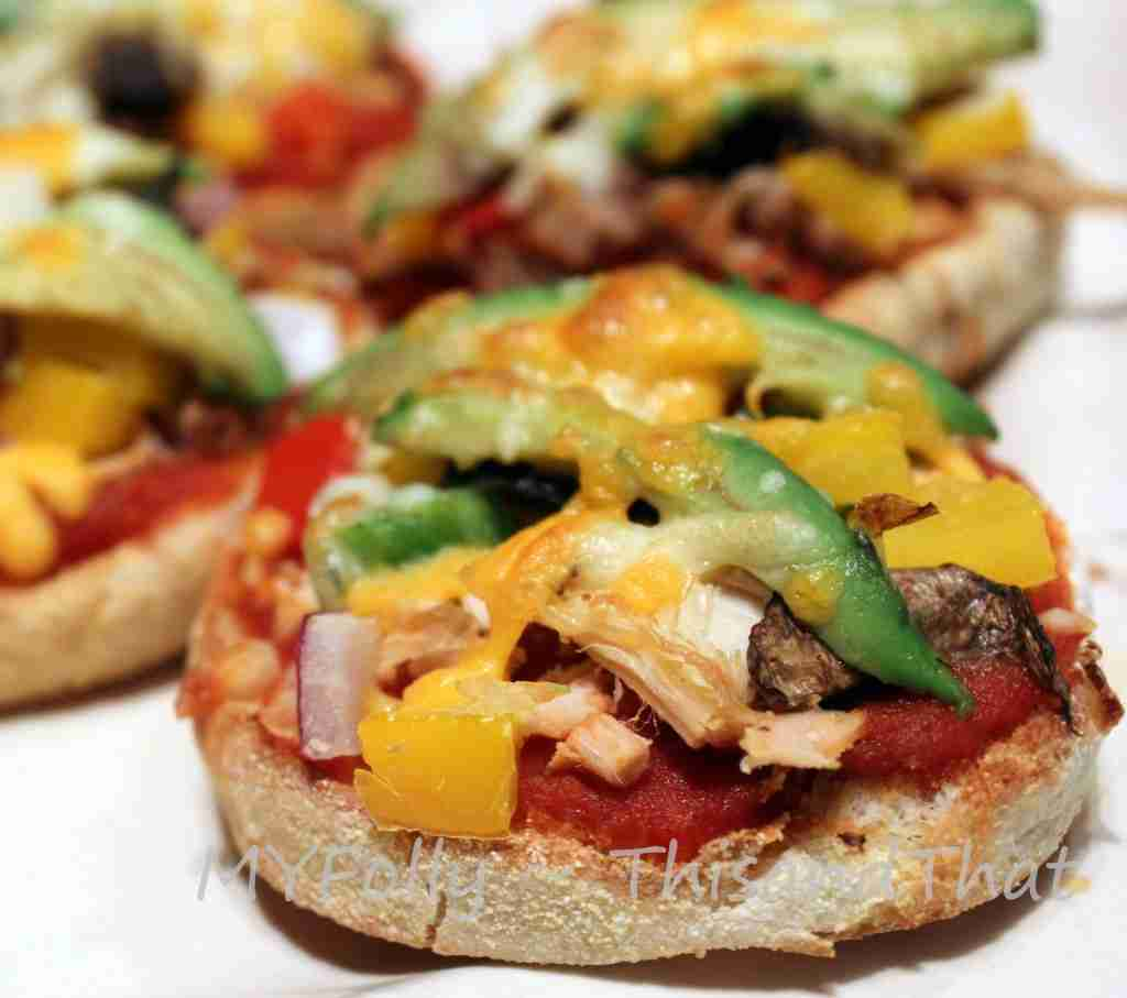 Mini pizzas made with left-over turkey and veggies