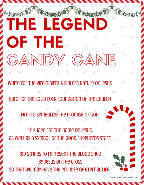 Legend of the Candy Cane - Fun Facts Free Printable