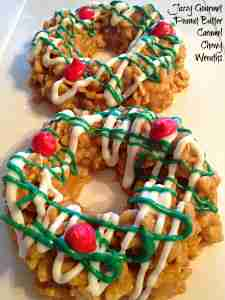 Peanut Butter Caramel Chewy Wreaths ~ candies to make for the holidays