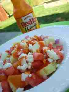 franks red hot, cucumber salad, buffalo