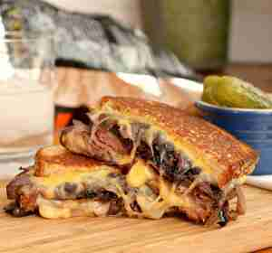 Roast Beef Grilled Cheese with Caramelized Red Onion
