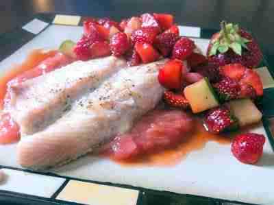 Fish with rhubarb compote and strawberry salsa