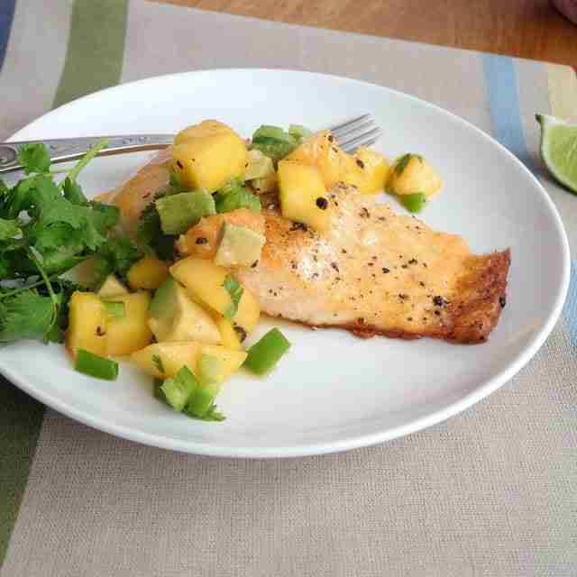 grilled salmon with fresh peach salsa