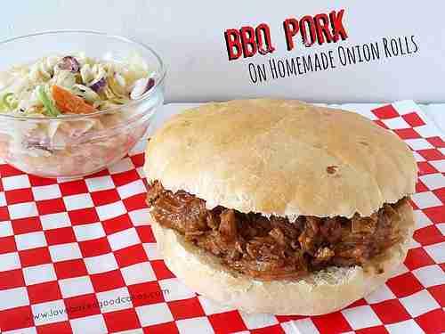 BBQ Pulled Pork on Homemade Onion Rolls Via Love Bakes Good Cakes