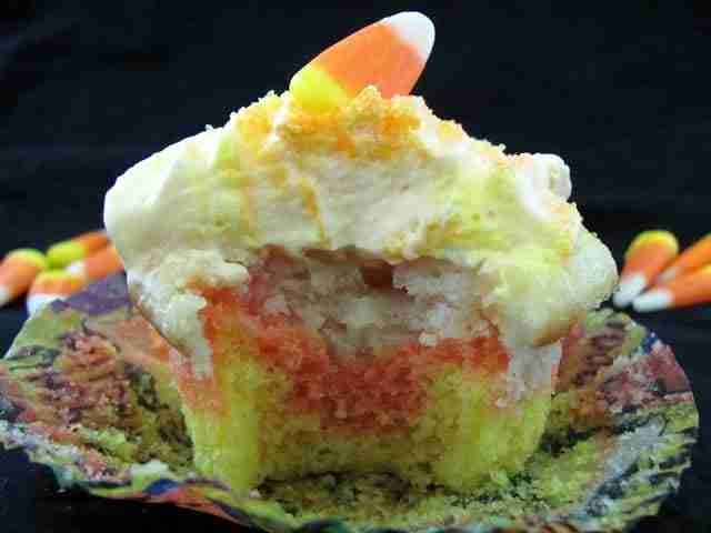 Candy Corn Cupcakes from Chocolate Moosey