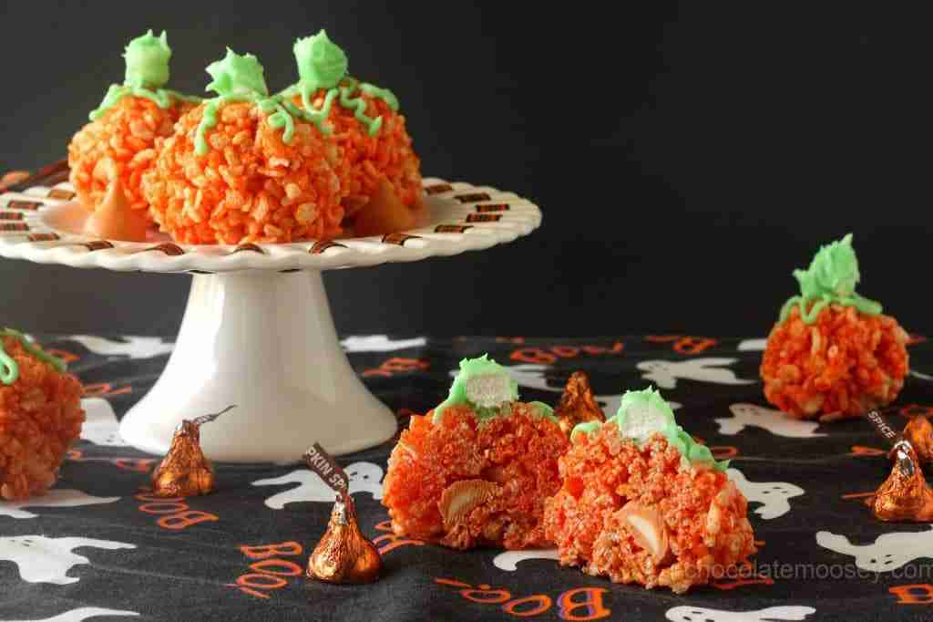 Candy-Stuffed-Rice-Crispy-Treat-Pumpkins from Chocolate Moosey