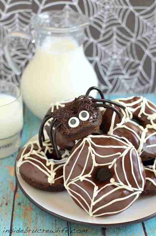 Chocolate Pumpkin Spider Donuts from Inside BruCrew Life