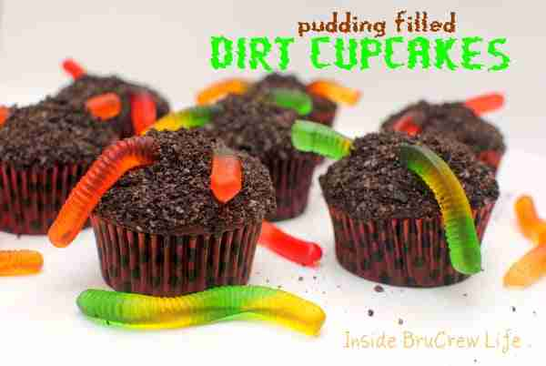 Pudding Filled Dirt Cupcakes from Inside BruCrew Life