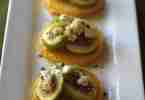 Figs with Goat Cheese and Peppered Honey Over Polenta