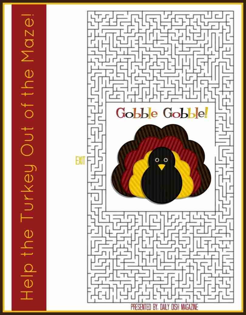 Free Thanksgiving Puzzles ~ Turkey Day Maze