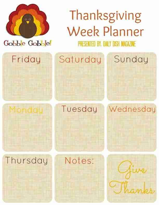 Weekly Planner Calendar Turkey Day