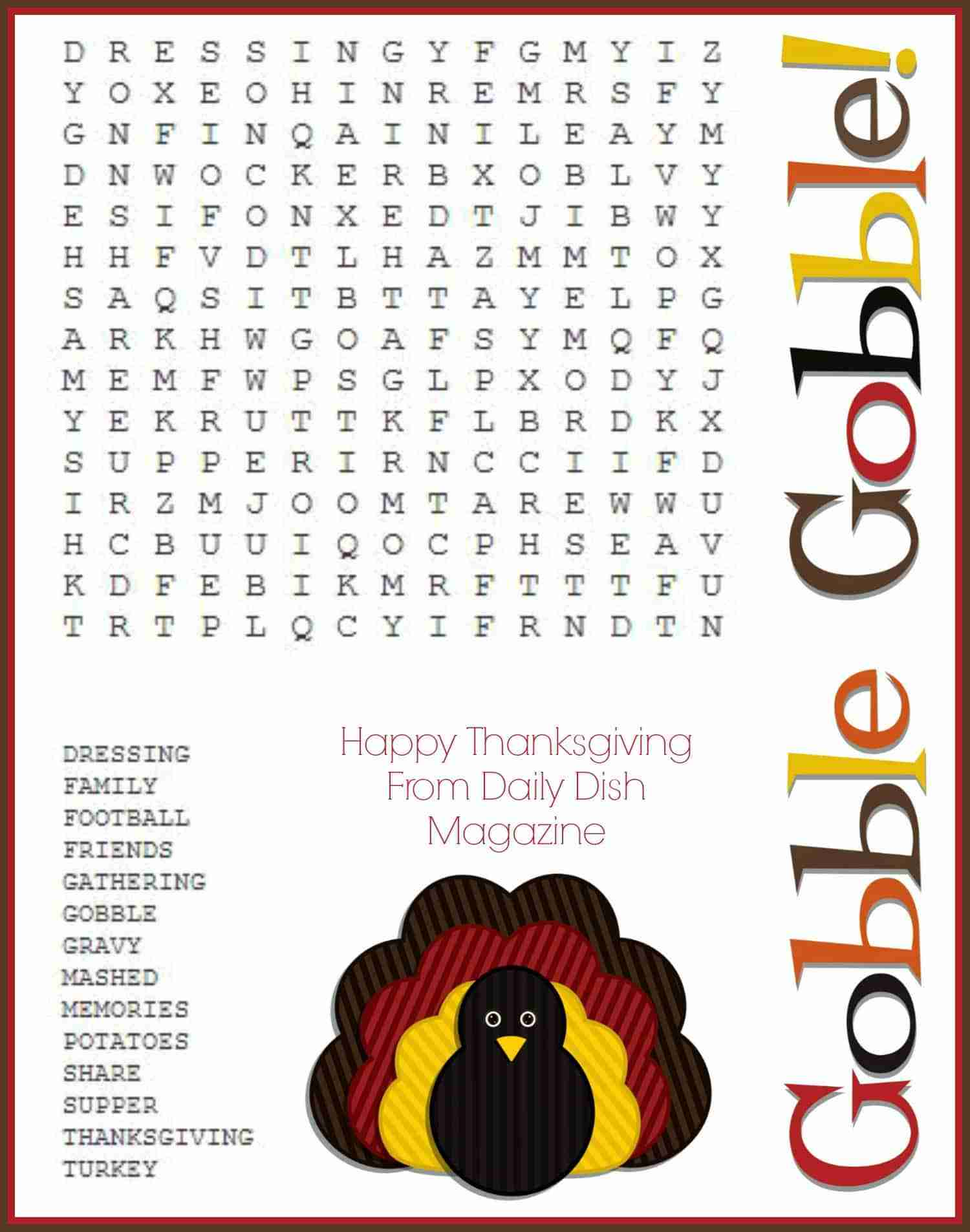 gobble gobble free thanksgiving word search