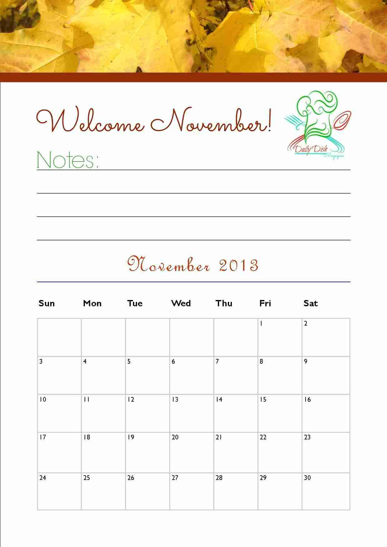 Free November 2013 Calendar Printable