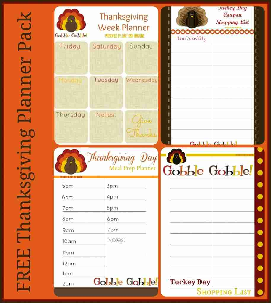 Free Thanksgiving Printable Planner Pack