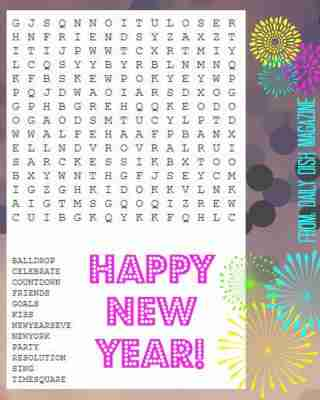 new years wordsearch | Daily Dish Magazine | Recipes | Travel | Crafts
