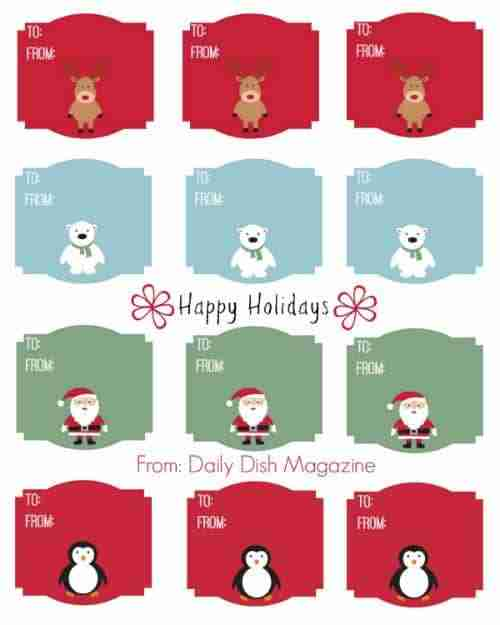 Cute Animal Christmas Gift Tag Printable ~ FREE