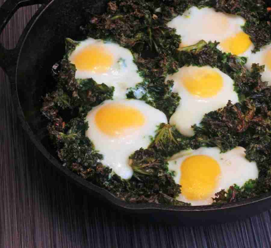 Baked Eggs and Kale