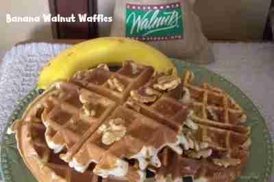 Banana Walnut Waffles - Daily Dish Magazine #waffles, #walnuts
