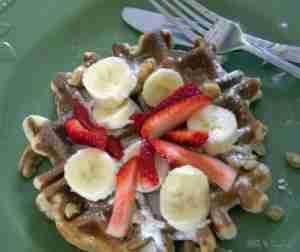 Banana Walnut Waffle ~ Daily Dish Magazine #waffle #walnut #banana