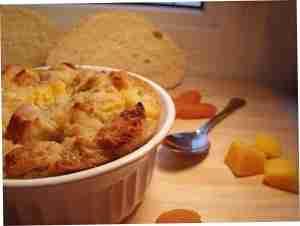mango apricot bread pudding