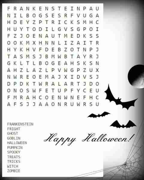Free Halloween Puzzle Printables ~ Halloween Word Search