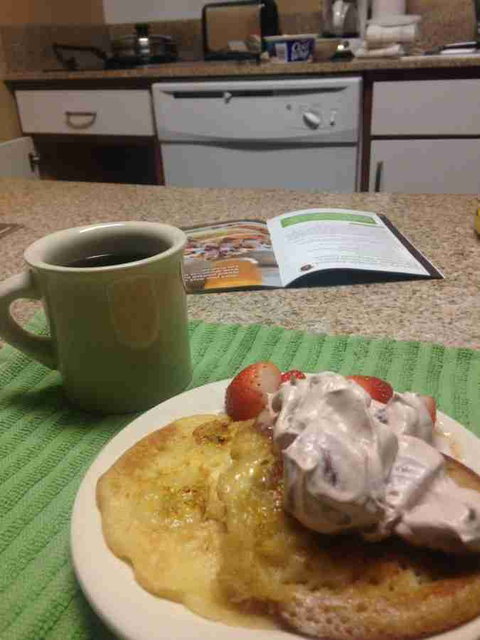 Sunny Anderson's Chocolate Banana Pancakes with Strawberry Chocolate Whipped Cream