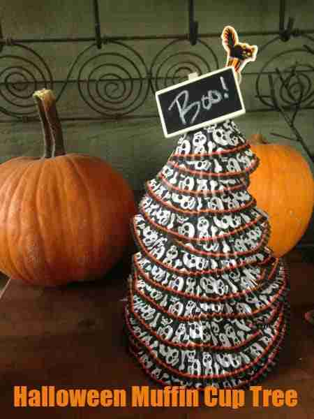 Easy Muffin Cup Liner Tree ~ Dollar Store Halloween Crafts