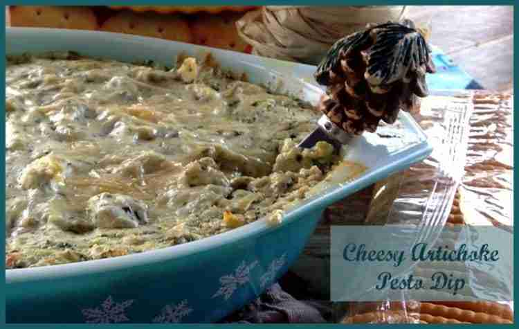 Cheesy Artichoke Pesto Dip