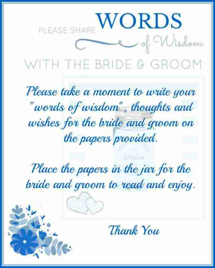 Wedding Words of Wisdom Memory Jar Instructions
