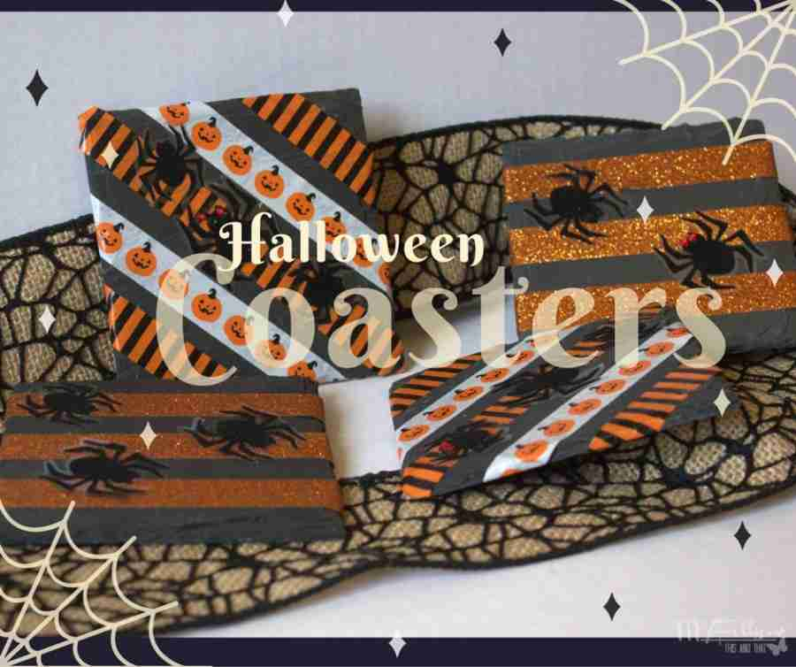 Easy to Make Halloween Coasters, decorated with washi tape