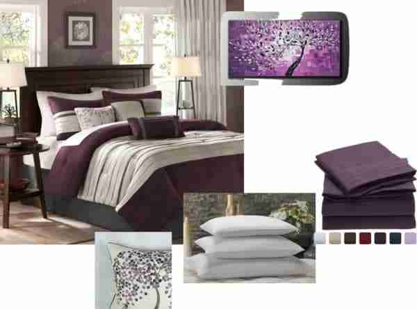 Plum & Grey Bedroom