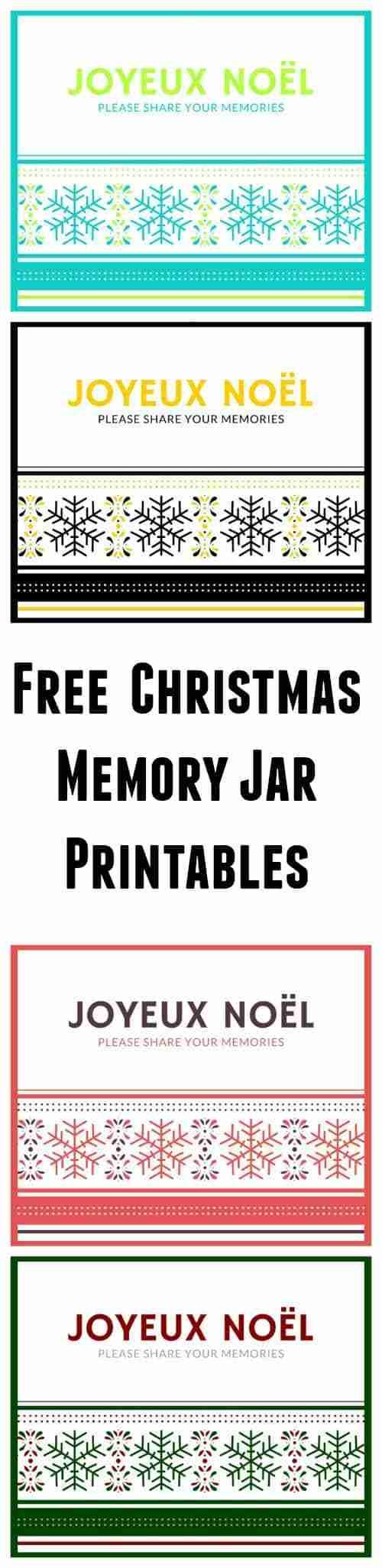 Christmas Memory Jar Free Printables