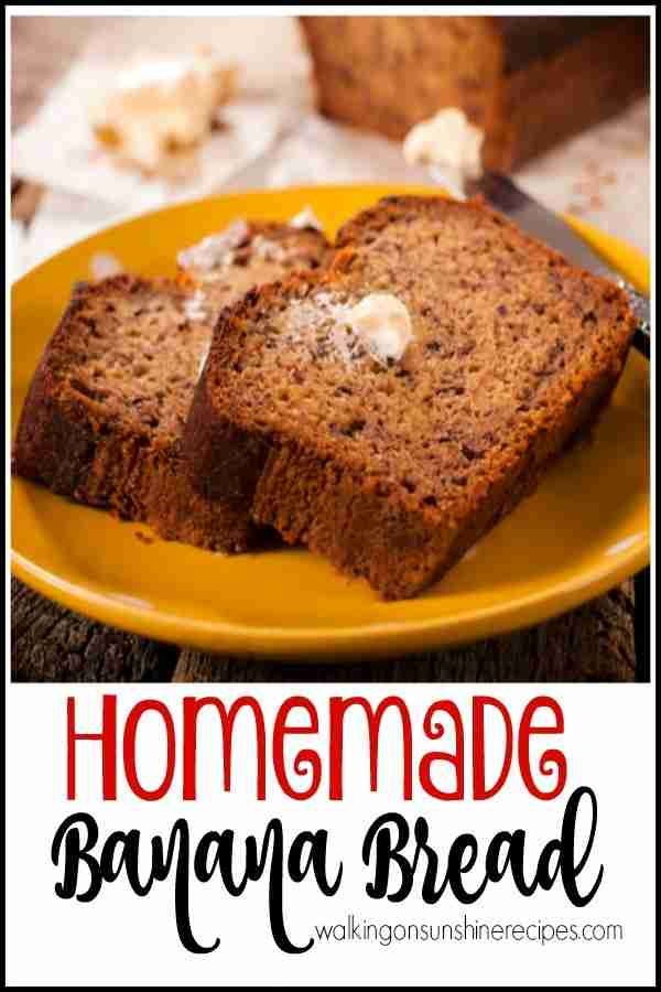 Homemade Banana Bread is a great way to turn black bananas into a delicious recipe.