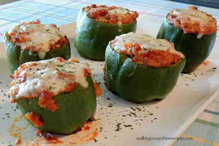 Stuffed peppers made with leftover South of the Border Casserole