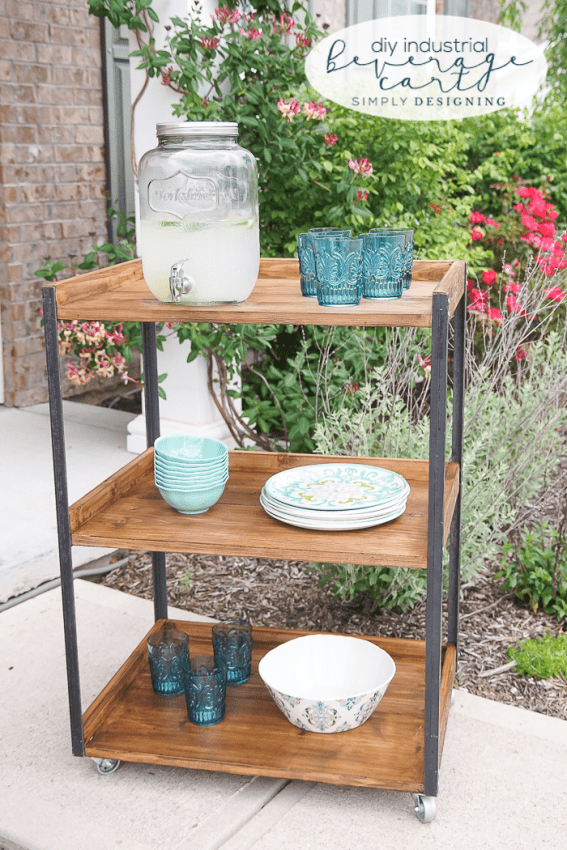 DIY Industrial Beverage Cart from Simply Designing