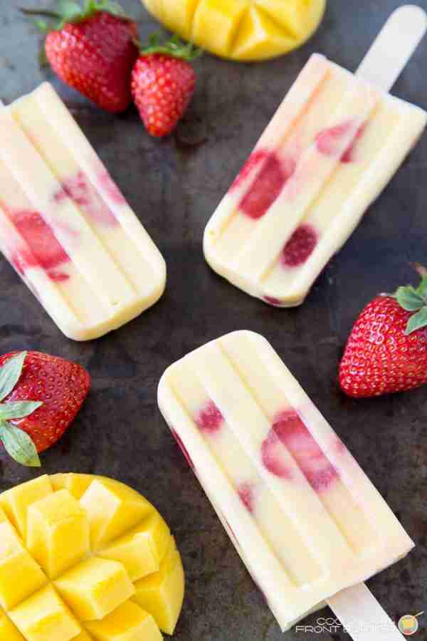 Mango Strawberry Yogurt Popsicles from Cooking on the Front Burners