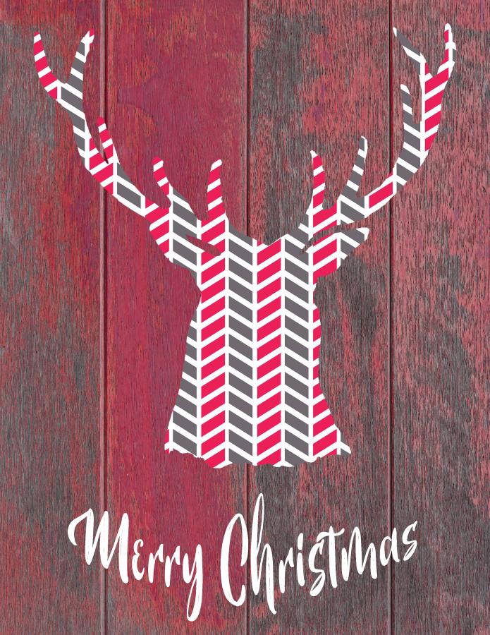Rustic Modern Deer Head Merry Christmas Printable Art