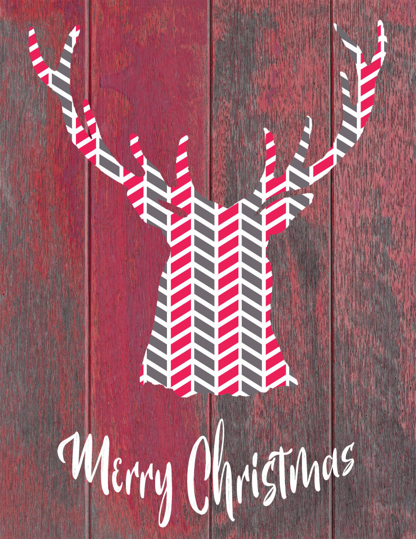 Rustic Modern Deer Head Merry Christmas Printable Art