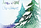 Watercolor Trees Free Christmas Countdown Printable Art