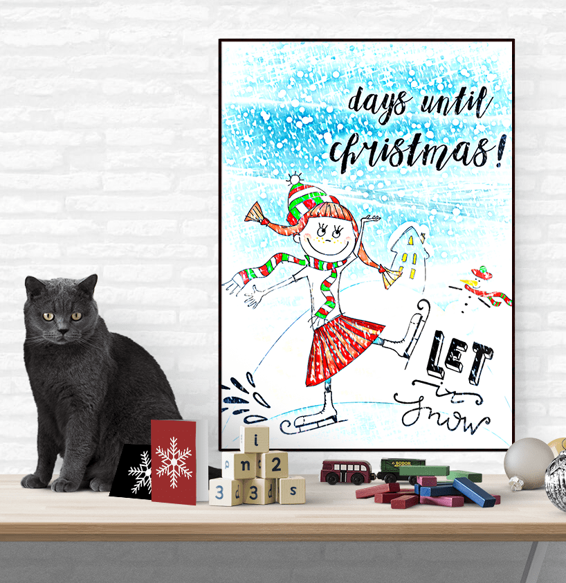 Let it Snow Christmas Countdown Printable Art