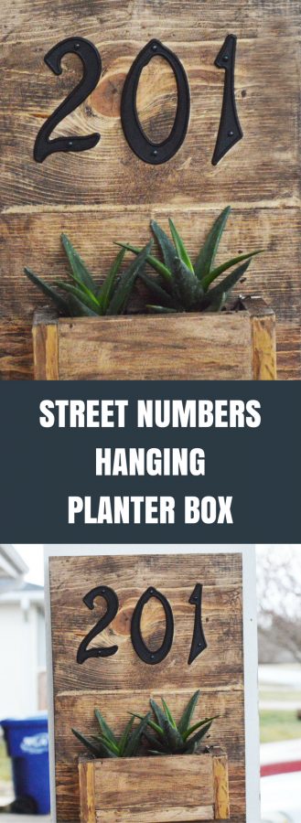 Easy Rustic Hanging Planter Box for Your Front Porch with Street Numbers!