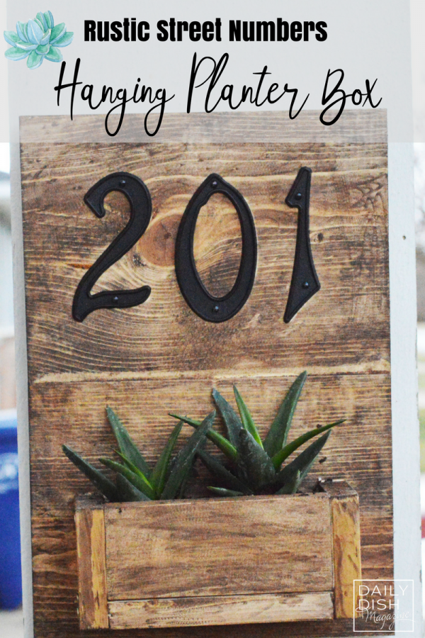 Rustic Street Numbers Hanging Planter Box