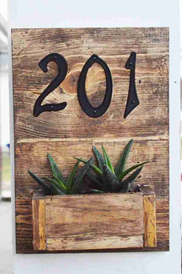 Rustic Street Number Hanging Planter Box