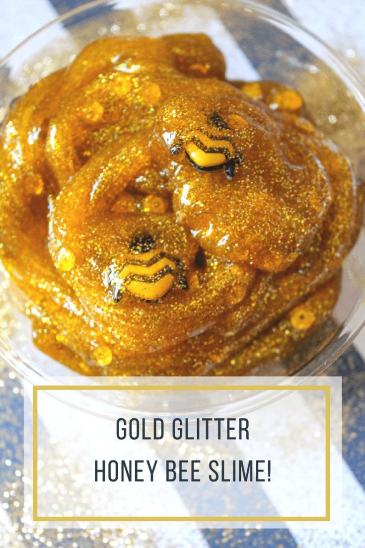 Gold Glitter Honey Bee Slime Recipe