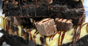Brownie Ganache Candy Bar Cheesecake Bars