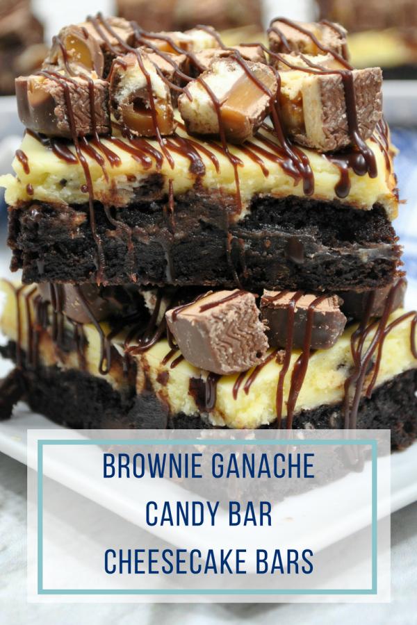 Brownie Ganache Candy Bar Cheesecake Bars