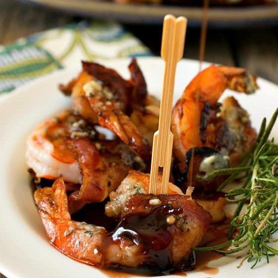 Bacon Wrapped Gulf Shrimp with Blue Cheese Butter & Port Reduction