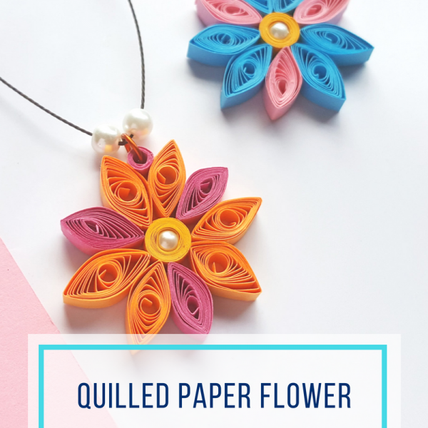 Easy Quilled Paper Flower Necklace Craft